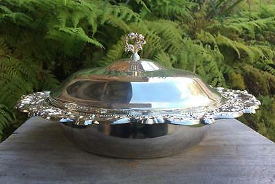 Stunning vintage Viners Genuine Silver Plate vegetable tureen w/ glass insert