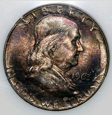 1963-D PCI Graded MS End Of Bank Roll Toned Franklin Silver Half Dollar Coin