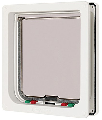 Cat Mate Cat Flap 4 Way Large White Lockable Pet Extra Safe Locking Gate Door