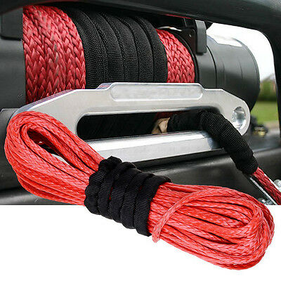 1/4'' x 50' 7000lbs Red Synthetic Winch Rope Cable Line for ATV UTV Off-Road