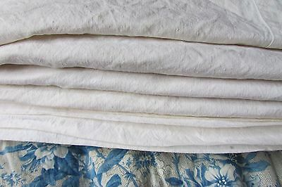 Beautiful Antique French Slubby Buttermilk Metis Linen Fabric Sheet Exc Cond #24