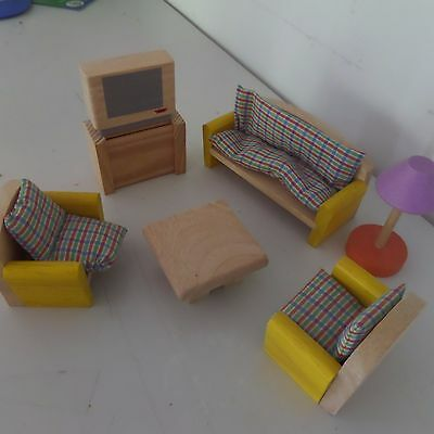 Bulk Lot- Wooden Dollhouse Furniture. Plan Toys, Hape, Timbertop