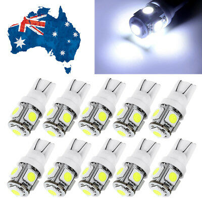 10 x T10 Wedge 5SMD Parker Number Plate LED Bulbs W5W 194 168 131 WHITE 12V Car