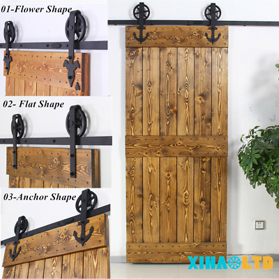 4-16FT Vintage Strap Industrial Big Spoke Wheel Sliding Barn Door Hardware Kit