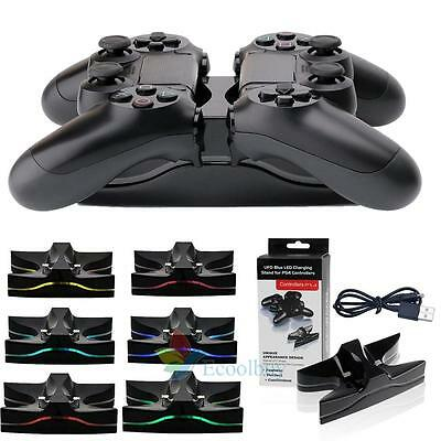 2 Chargeur USB LED Dock Station de charge rapide Stand For Sony PS4 Controller