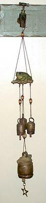 Windchimes Collectible Frogs on Lilly Pads Brass Antique Cow Bells Decorative