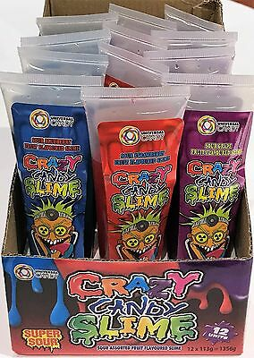 902099 1.35kg BOX OF 12 TUBES OF CRAZY CANDY SLIME LIQUID CANDY! FRUIT FLAVOURED
