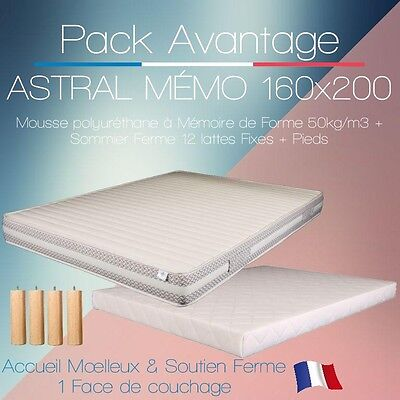 PACK Matelas ASTRAL MEMO & Sommier FERME 160X200 + 5 pieds 15cm