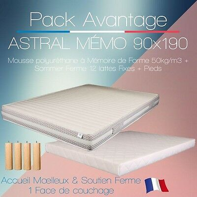 PACK Matelas ASTRAL MEMO & Sommier FERME 90X190 + 4 pieds 15cm