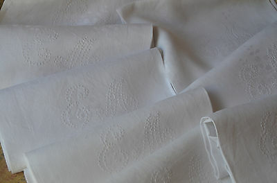 11 antique pure damask linen lilly of valley napkins, EM monograms