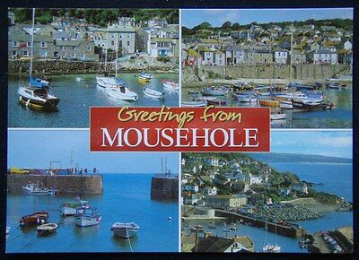 Greetings from Mousehole Cornwall 4 view Postcard (P241)
