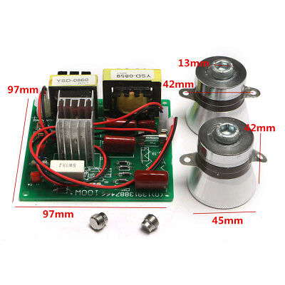 2X 50W 40KHZ Transducers + 1X AC 220V 100W Ultrasonic Cleaner Power Driver Board