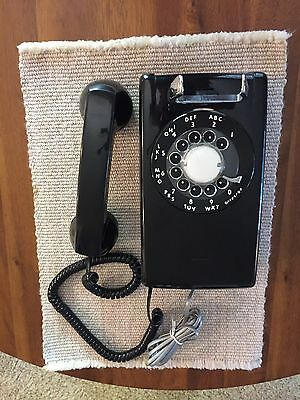 Western Electric Rotary Dial A/B 554 12-64 Black Wall Phone Reconditioned 1960s