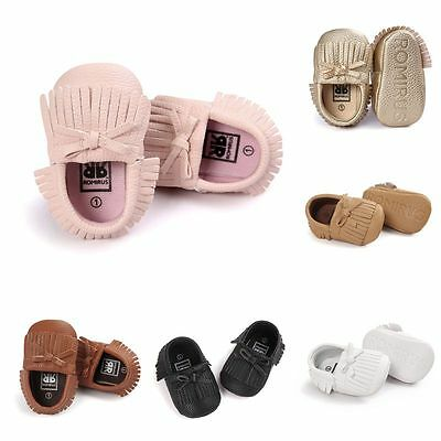 0-18M Newborn Baby Boy Girl PU Leather Sneakers Soft Sole Moccasin Tassel Shoes