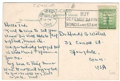 "a260 Antigua PPC to USA censor ""buy defence bonds & stamps"" MAR 27 1942"