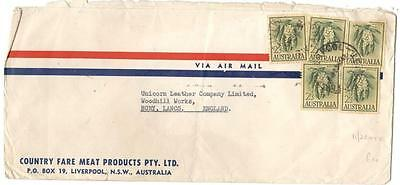 a267 Australia Airmail cover to England 11/3 rate