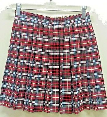 Vtg girl M 10 12 RED Plaid Rayon Blend Pleated Skirt EUC
