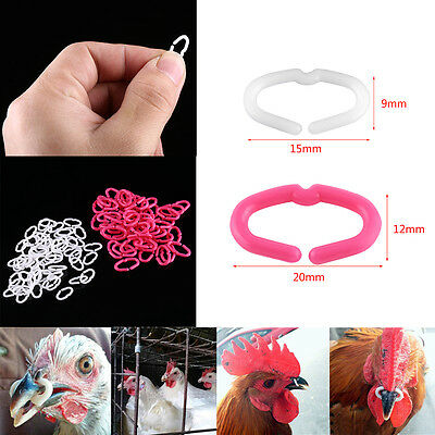 50/100pcs Chicken Beak Clasps Cock Snap Rings Anti-pecking Poultry Feather Tools
