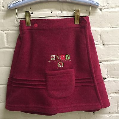 Vintage THREE POMMES 6 Skirt Red Fleece Wrap embroidery FRANCE Pocket