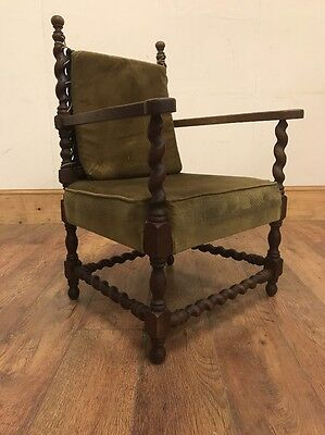 Lovely old antique Carved Oak and Barley Twist hall carver chair Project