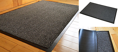 Heavy Duty Non Slip Rubber Barrier Mat Rugs Back Door Hall Kitchen Grey 80x120cm