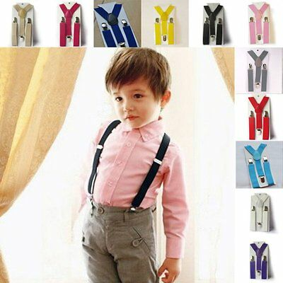 Baby Kids Boy Girls Clip-on Elastic Suspenders Stretch Adjustable Braces Pants