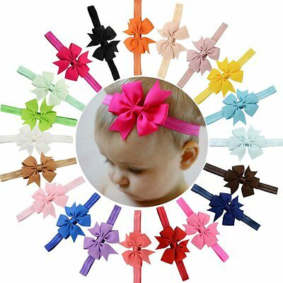 HOT New 20pcs Baby Girls Infant Boutique Wave Hair Flower Headband Hair Bow Band