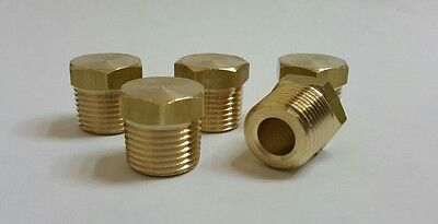 "5 pcs. 3/8""  MIP (Male NPT) Brass Hex Plug. Fitting  MADE IN USA!"
