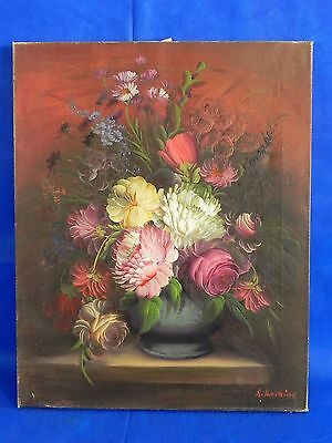 """Vintage Oil on Canvas Painting Signed Howkins Floral Flowers 16""""x20"""""""