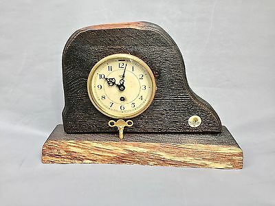 Vintage 1930s Smiths English Eight Day Mechanical Clock in NEW solid Oak body