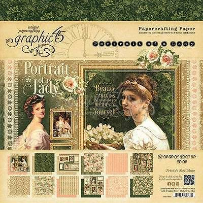 "Graphic 45 Portrait of a Lady Double Sided 8x8"" Paper Pad New"