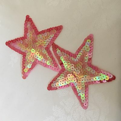 2 Pink Iron On Sequinned Star Applique 11cm #430