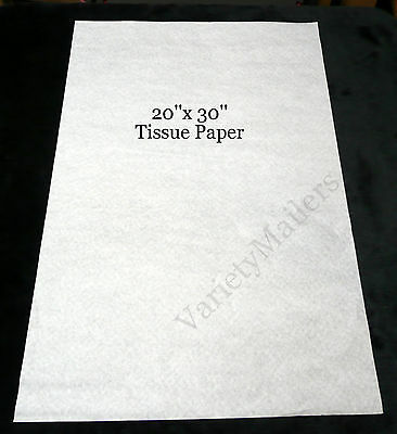 "25 Sheets of Premium White Tissue Paper 20""x 30"" Matte Finish Free Shipping!"