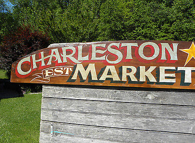 Charleston SC market  Sign wooden vintage look hand painted art holy city