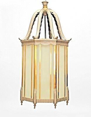 Pair of large French Art Deco Brass & Chrome Trimmed 8 Sided Hanging Lantern