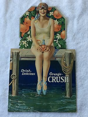 Rare Never Used 1920's Orange Crush Die Cut Cardboard Sign, Bathing Beauty Girl!
