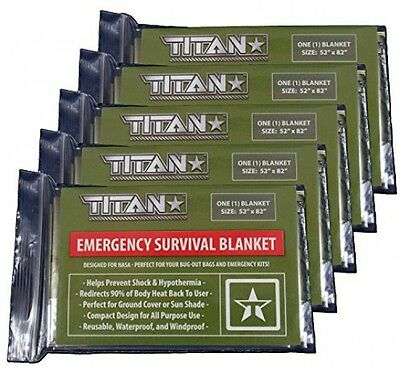 TITAN Two-Sided Emergency Mylar Survival Blankets, 5-Pack | Designed For NASA |