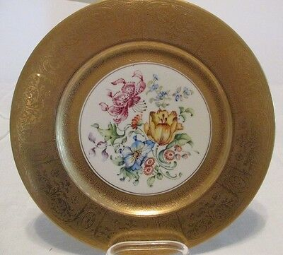 "Vintage Gold Encrusted 10.5"" Claremont CABINET PLATE Hand Painted Floral Center"