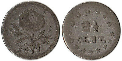 1877 Colombia 2-1/2 Centavos Silver Coin KM#169 Mintage 78K