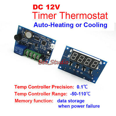LED Heating / Cooling Temperature Clock Controller Timer Digital Thermostat PLC