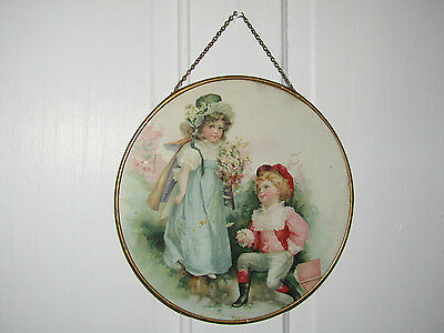 Antique Victorian *Courting Boy/Girl Daisies* Flue Cover!