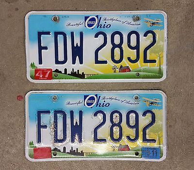 License Plate - Matching Set - Ohio 2011 - Birthplace of Aviation - Great Colors