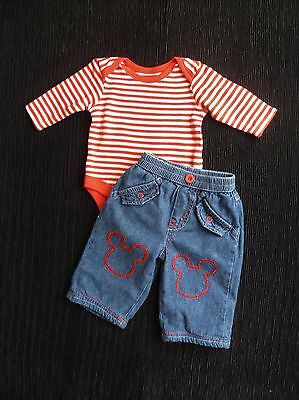 Baby clothes BOY newborn 0-1m outfit Disney M.Mouse jeans/red stripe bodysuit