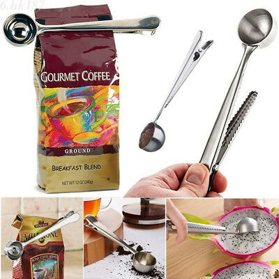 Stainless Steel Ground Coffee Measuring Scoop Spoon Bag Sealing Clip Cook Tool