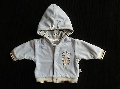 Baby clothes BOY 0-3m blue/cream corded lined soft jacket poppers dog SEE SHOP!