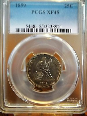 1859 Pcgs Xf45 Liberty Seated Quarter