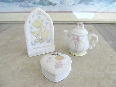 Precious Moments 3 Figurines, Chapel Window, Trinket Heart Box, April Tea Pot