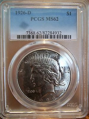 1926-D Pcgs Ms62 Peace Dollar
