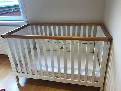 White solid Oak CotBed frm Mothercare-great condition-mattress height adjustable