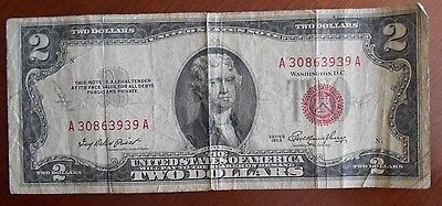 1953  $2.00 United States Two Dollar Bill Red Seal Note * Good **